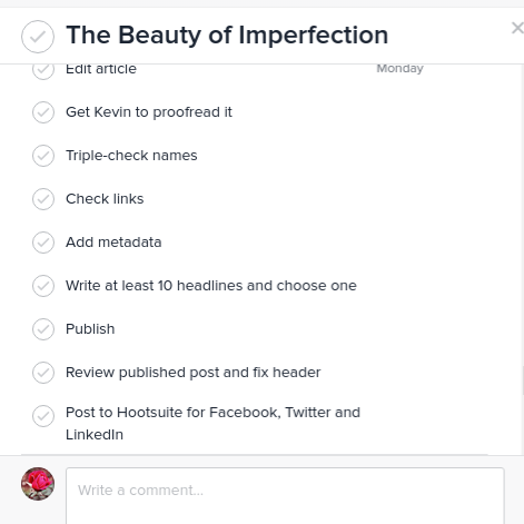 A screenshot from my Asana task for this article.